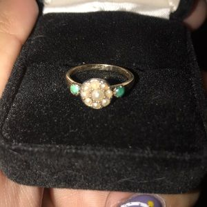 Vintage 1800s seed pearl turquoise petite ring